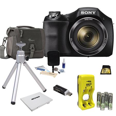 Tripod Kit Case Batteries /& Charger Sony Cyber-Shot DSC-H300 Digital Camera with 32GB Card
