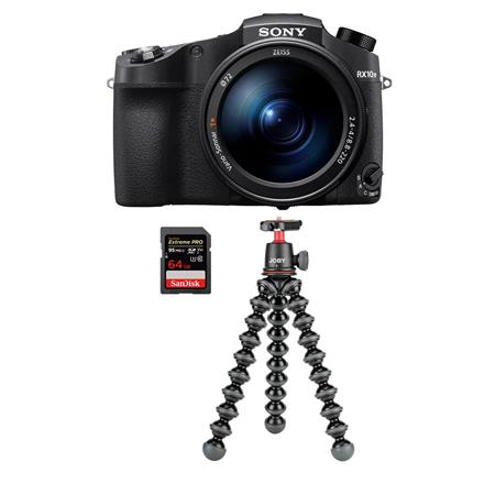 Sony Cyber-shot DSC-RX10 IV Camera Black With Joby GorillaPod 3K /64GB SDXC  Card