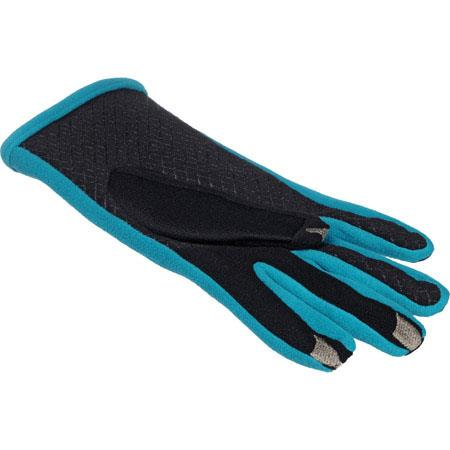Isotoner Smart Touch Womens Black /& Baltic Teal Tech /& Text Gloves Smartouch