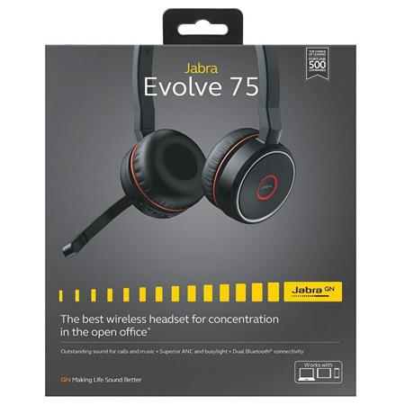 Jabra Evolve 75 Uc Stereo Bluetooth Headset With Link 370 Adapter Retail Sme 100 98510000 02