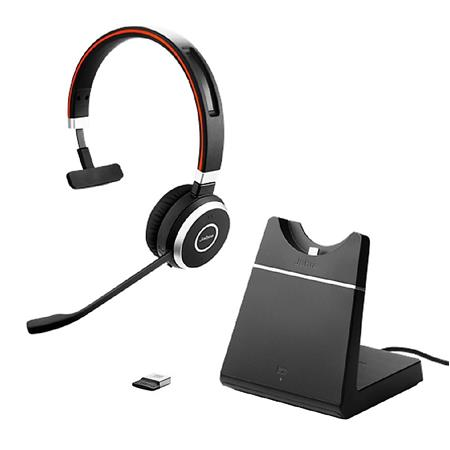 Jabra Evolve 65 UC Mono Bluetooth Headset with USB Adapter and Charging  Stand