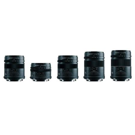 HandeVision IBERIT 5-Lens Kit 24mm, 35mm, 50mm, 75mm and 90mm f/2 4 for  Fujifilm X (Black)