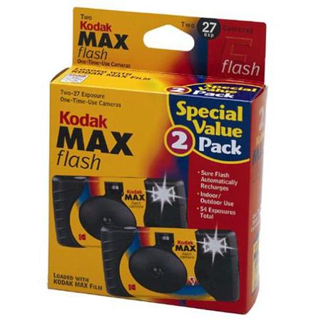 KODAK Max One-Time Use 35mm Film Camera (ISO-800) with Power Flash, 27  Exposure, 2-Pack