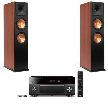 Klipsch 2 Pack Reference Premiere Atmos RP-280FA Floorstanding Speaker,  600W Main Channel Peak Power, Single, Cherry Vinyl - With Yamaha RX-A3080