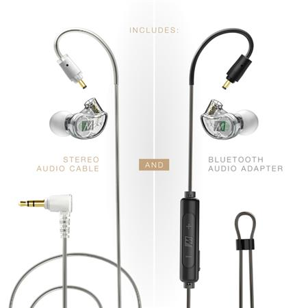 MEE audio M6 PRO 2nd Generation Musicians' In-Ear Monitors Wired + Wireless  Bundle, Includes Stereo Audio Cable and Bluetooth Adapter, Clear