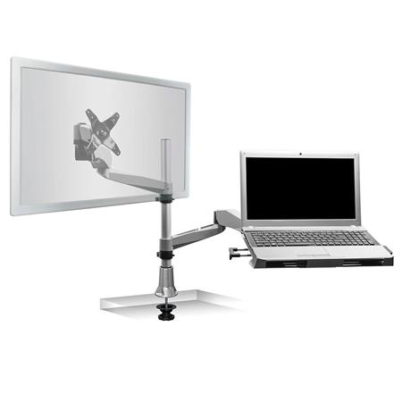 Enjoyable Mount It Mi 75911 Single Monitor Dual Arm Articulating Desk Mount And Laptop Tray With Grommet Base Download Free Architecture Designs Scobabritishbridgeorg