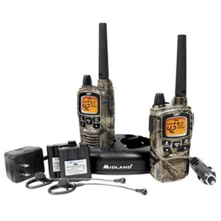 Midland 42 Channel GMRS Radio (Pair) with 142 Privacy Codes, 10 Call  Alerts, up to 36 Mile Range, Camo