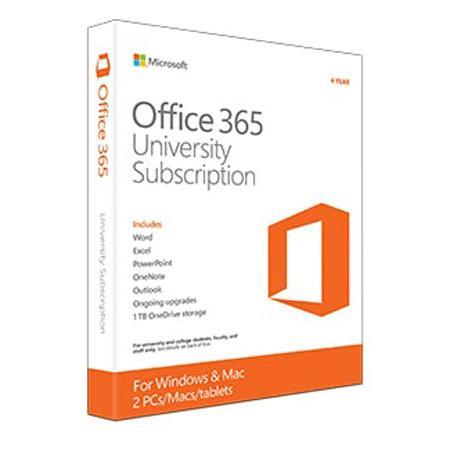 Microsoft Office 365 University (2-Licenses PC or Mac), 4 Year Subscription  (USA and Canada Students Only)