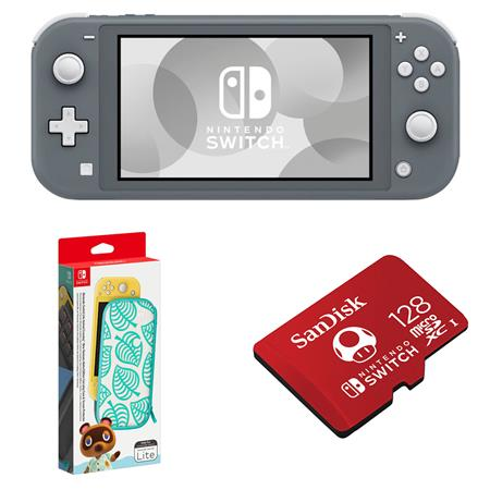 Nintendo Switch Lite Gray With Animal Crossing Carrying Case