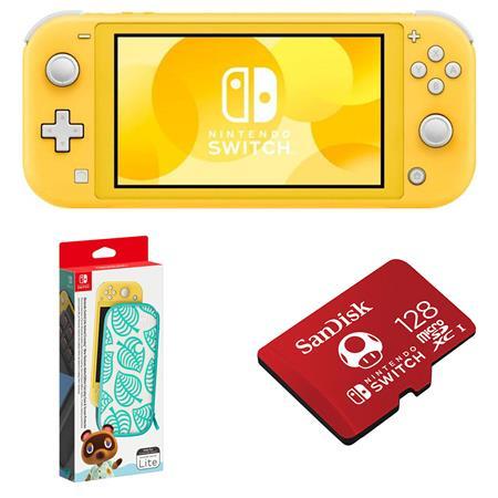 Nintendo Switch Lite Yellow W Animal Crossing Carrying Case 128gb Memory Card Hdhsyazaa D