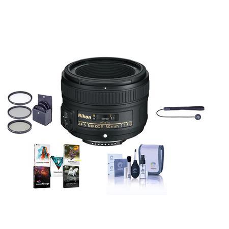 Nikon 50mm F 1.8g AF-S Nikkor Lens with Accessory Bundle