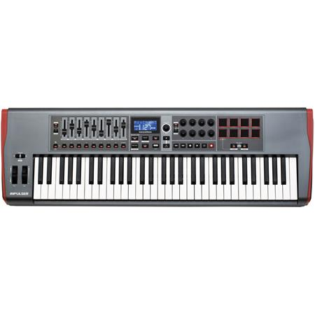 Novation Impulse 61 USB MIDI Controller Keyboard with Automap 4 Control  Software, 8x Rotary Encoders and 9x Fader, 8x Backlit Trigger Pads, Ableton