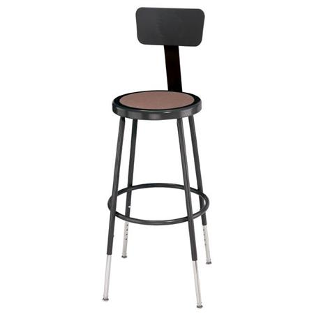 Terrific National Public Seating 6200 Series 25 33 Height Adjustable Heavy Duty Steel Stool With Backrest Masonite Wood Seat Black Frame Dailytribune Chair Design For Home Dailytribuneorg