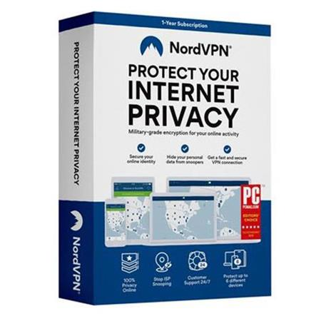NordVPN Internet Privacy & Security Software for  Mac/Windows/Android/iOS/Linux, ESD Download, 1 Year Subscription, Up to 6  Devices