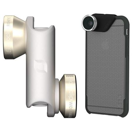 finest selection 6e19c a926e Olloclip 4-in-1 Gold/White Lens for iPhone 6 Plus/6s Plus (Fisheye,  Wide-Angle, 2 Macros) + Clear/Dark Gray Quick-Flip Case