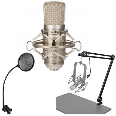 On-Stage AS800 Diaphragm FET Condenser Microphone with Pop Filter