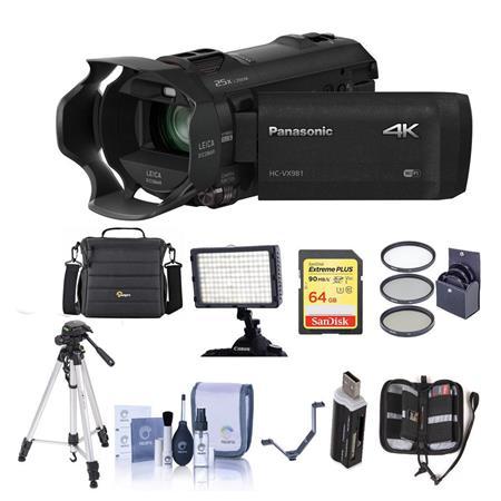 Panasonic HC-VX981K 4K UHD Camcorder with 4K Photo Wi-Fi w/Premium Acc  Bundle