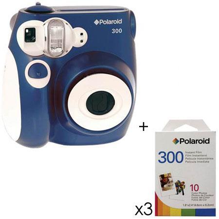 Polaroid PIC 300 Instant Camera Analog- Blue w/3 Packs of Film ...