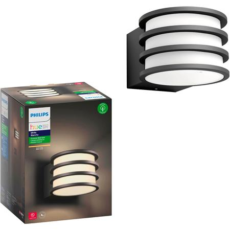Philips Hue White Lucca Black Outdoor Led Wall Lantern Sconce With Wireless A19 Smart Light Bulb
