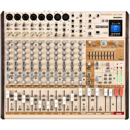 Phonic AM14GE AM Gold Edition 6-Mono 4-Stereo Input 2-Group Mixer with DFX,  Plus Bluetooth, TF Recorder & USB Interface
