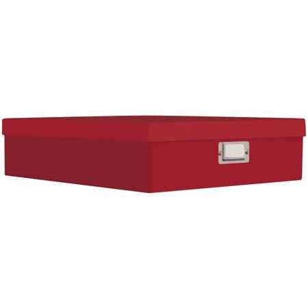 Pioneer Red Scrapbooking Storage Box With Solid Color Exterior 1325W X 1475L 4H Bright