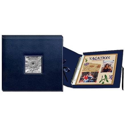 Pioneer 3 Ring Sewn Frame 12x12 Scrapbook Box Color Navy Blue