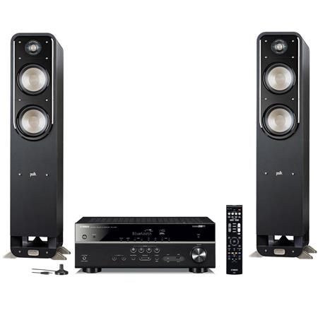 Polk Audio 2x S55 41 5 Home Theater Tower Speaker Single W Yamaha Rx V485 Recv S55 K