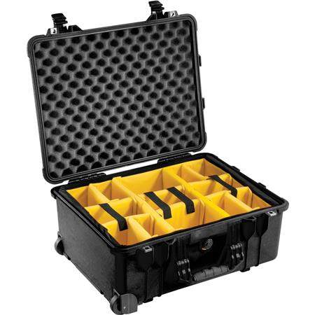 Pelican 1510SC Polycarbonate Studio Case Black with Padded Yellow Foam Dividers