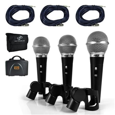 Pyle PDMICKT34 Dynamic Hyper-Cardioid Handheld Microphone Kit with XLR  Audio Cables, 3 Pack