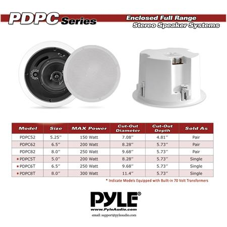New PDPC8T In-Ceiling Enclosed Speaker System w//Rotary Tapping 70V Transformer