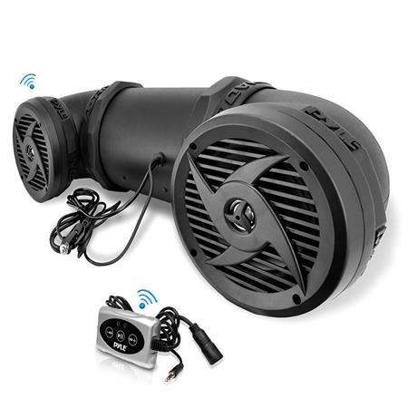 "Pyle PLATV10BT 10W Bluetooth Waterproof Powered Amplified Sound System  with 10.10"" 10-Way Stereo Marine Dual Speakers for ATV/UTV/Jet Ski/Snowmobile"