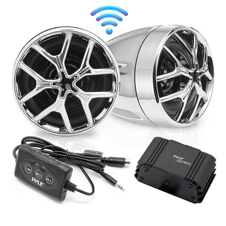 Pyle Cycle Series PLMCA51BT Speaker & Amplifier System, Includes 2x  Weatherproof Speakers, Mini Amplifier, Bluetooth Controller and 12V Wiring  Harness