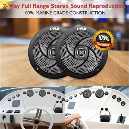 """Pair of Pyle PLMRS4B 4/"""" 100W Low-Profile Slim Style Waterproof Marine Speakers"""