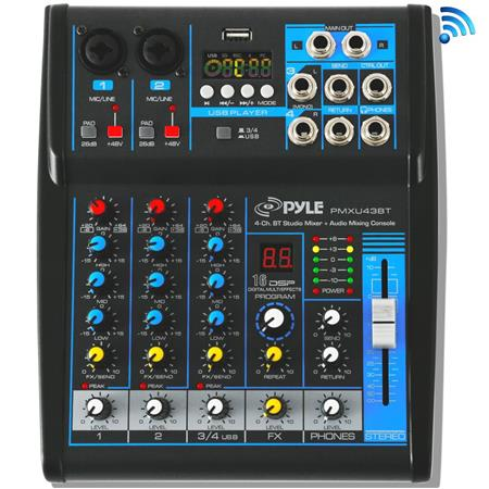 Pyle PMXU43BT 4-Channel Bluetooth 4 0 Studio Mixer and DJ Controller Audio  Mixing Console System