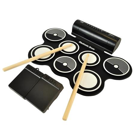 Pyle PTEDRL14 Roll-Up Electronic Drum Kit with Built-In Speakers and MIDI  Capability