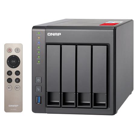 Qnap TS-451+ 4-Bay Personal Cloud Tower NAS, Intel Celeron 2 0GHz, 2GB RAM,  2 5