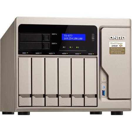 Qnap TS-877 8-Bay (6+2) High-Performance NAS Enclosure/iSCSI IP-SAN, AMD  Ryzen 5 1600 6-Core 3 2 GHz, 8GB RAM
