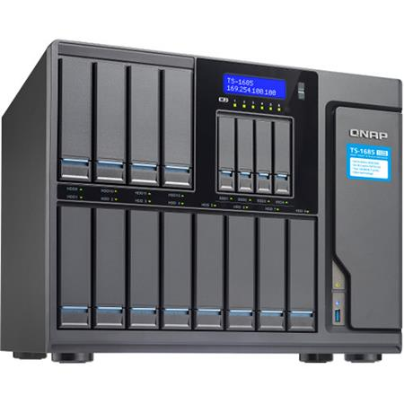 Qnap TS-1685-D1531 12 (+4) Bay High-Capacity iSCSI NAS Enclosure, Intel  Xeon D-1531 6-Core 2 2GHz, 16GB RAM