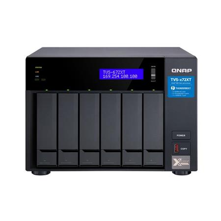 Qnap TVS-672XT Ultra-High Speed 6-Bay Thunderbolt 3 NAS Enclosure, Intel  Core i3-8100T 4-Core 3 1 GHz, 8GB DDR4 RAM