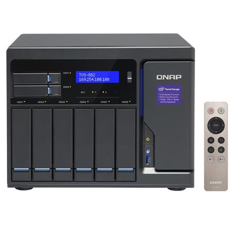 Qnap TVS-882 8-Bay High-Performance Unified Tower NAS Enclosure, Intel Core  i3-6100 3 7GHz, 8GB RAM, 2 5