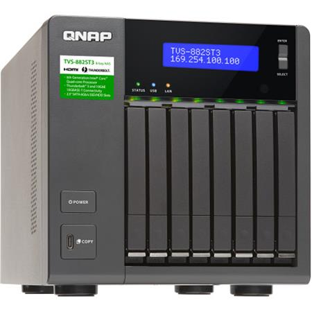 Qnap TVS-882ST3 8-Bay Ultra-High Speed & Compact Thunderbolt 3 NAS  Enclosure/iSCSI IP-SAN, i7-6700HQ 2 6GHz 16GB RAM