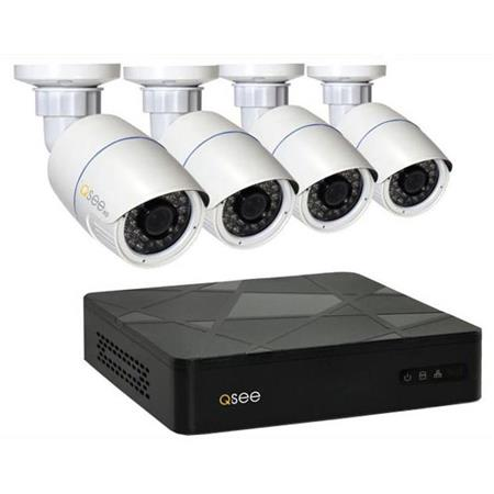 Q-See 4 Channel IP HD NVR Security System, Includes 4x 3MP Bullet Camera with 100\u0027 Night Vision Q- See System