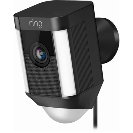 Ring Indoor/Outdoor 1080HD Wired Rectangle Security Camera with LED  Spotlight, Black