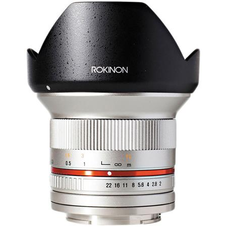 Rokinon 12mm F/2 0 Ultra Wide, Manual Focus Lens for Sony E Mount, Silver