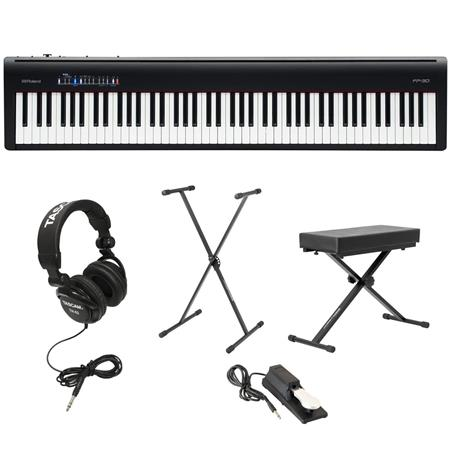 Roland Fp 30 Digital Piano Black With Bench Stand And H A Headphones Fp 30 Bk A