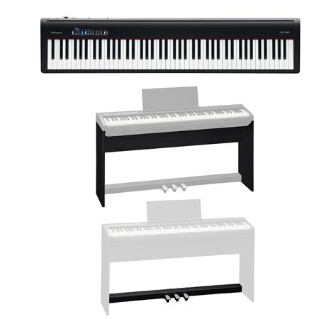 Roland Fp 30 Digital Piano Black W Roland Ksc 70 Custom Stand Kpd 70 Pedal Unit Fp 30 Bk D