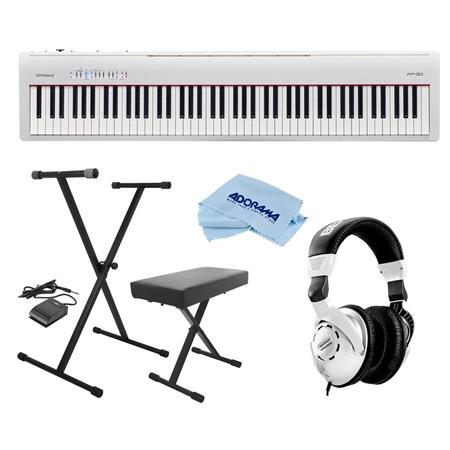 Roland Fp 30 Digital Piano With Keyboard Stand Bench Pedal And Headphone Kit Fp 30 Wh A
