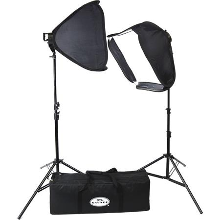 Savage Daylight LED Portrait Kit, Includes 2x Dimmable 176 Chip On Board  LED Light, 2x Quick-Open Softbox, 2x 6' Light Stands, Padded Carry Bag