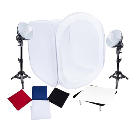 Used Studio Essentials Table-Top Fluorescent 2-Light Product Photography  Kit, Includes 2x Light Stand, 2x Sockets with 6