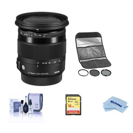 Sigma 17-70mm f2 8-4 DC OS HSM Macro Lens f/Sigma DSLR #584101 W/Hoya  Filter Kit